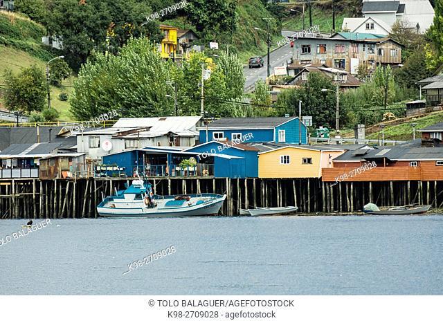 palafitos, Castro, archipiélago de Chiloé ,provincia de Chiloé ,región de Los Lagos,Patagonia, República de Chile,América del Sur