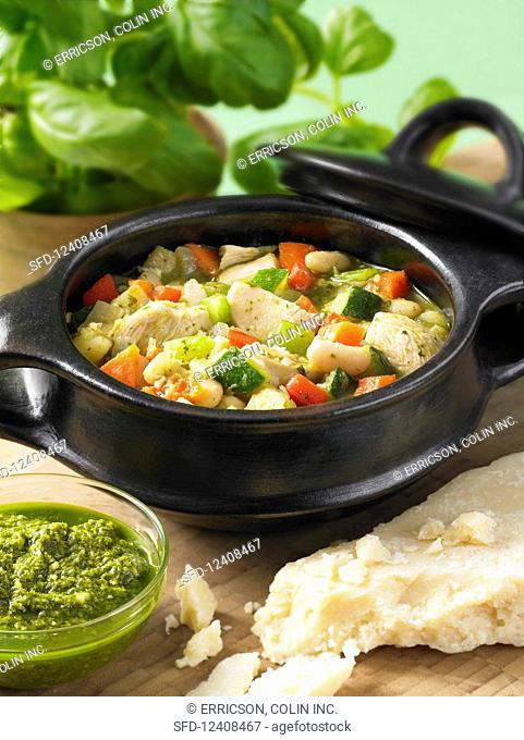Chicken and white bean stew with pesto