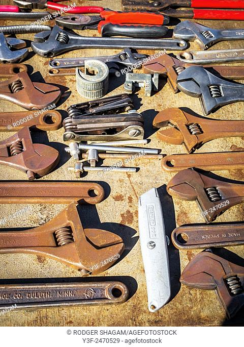 Old tools on sale at a flea market. Cape Town, SOuth Africa