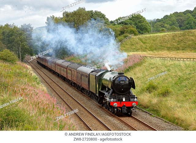 Flying Scotsman steam train LNER A3 Class 4-6-2 no 60103, in a cutting at Morralee, Bardon Mill, Newcastle & Carlisle Railway (N&CR), Northumberland, England