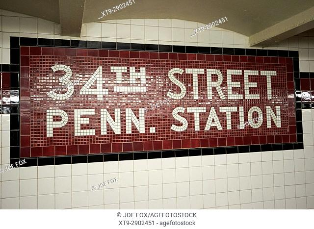 mosaic old style subway station sign 34th street penn station New York City USA