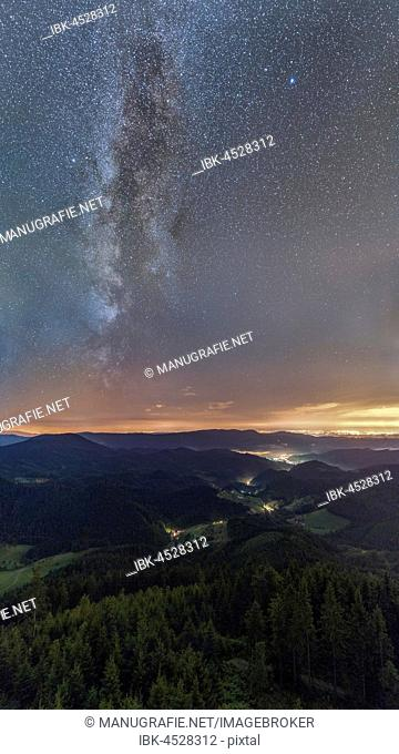 Milky Way over the Renchtal Valley, Black Forest, Baden-Württemberg, Germany