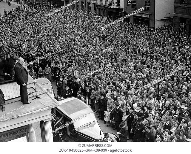 June 25, 1945 - High Wycombe, England, U.K. - SIR WINSTON CHURCHILL (1874-1965) was a British politician and statesman who served as Prime Minister of the...
