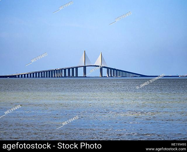 The Bob Graham Sunshine Skyway Bridge spanning the Lower Tampa Bay connecting St. Petersburg, Florida to Terra Ceia Florida in the United States