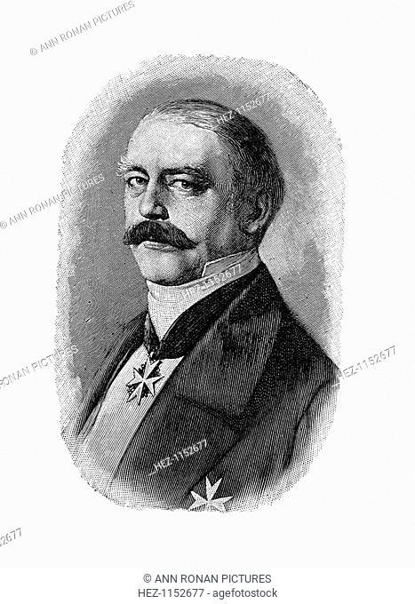 Otto von Bismarck, German statesman, as Prussian Envoy at the German Diet, 1858. Otto Edward Leopold, Count von Bismarck (1815-1898) was Chancellor of Prussia...