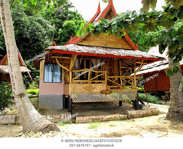 Phi Phi Relax Beach Resort cottages, Phak Nam Bay, Koh Phi Phi Island, Thailand. Asia. Phi Phi Don island. Krabi province, Andaman Sea, Thailand