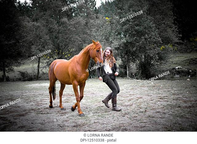 A teenage girl walks with her horse in a field during training; British Columbia, Canada