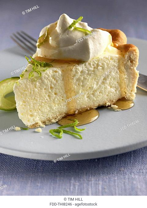 Individual slice of lime chiffon pie