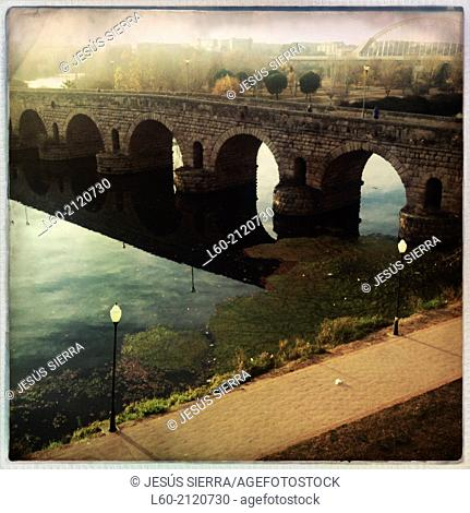 Roman Bridge on Guadiana river Mérida Badajoz province Extremadura Spain