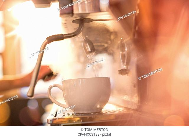 Close up espresso machine filling coffee cup with hot water
