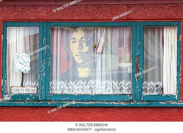 New Zealand, North Island, Rotorua, Ohinemutu, Maori village, drawing of Bab Marley and sign, Gone to the Pub