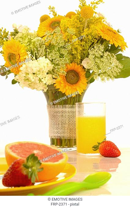 Breakfast table with a bouquet