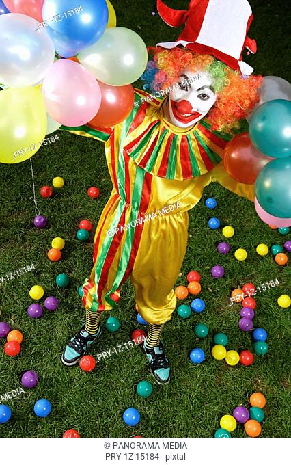 Clown holding balloons on lawn