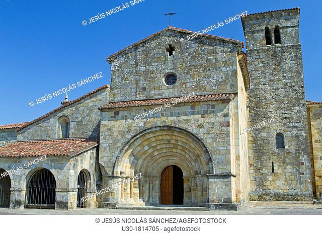 Overview of Santa Cruz collegiate, in Socobio, Castañeda  It is considered as one of the most important romanesque churches of Cantabria and declarated National...