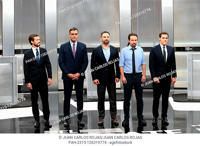 Madrid, Spain; 04/11/2019.- Debate on Television of the five candidates for president of Spain who will be elected in the vote on November 10