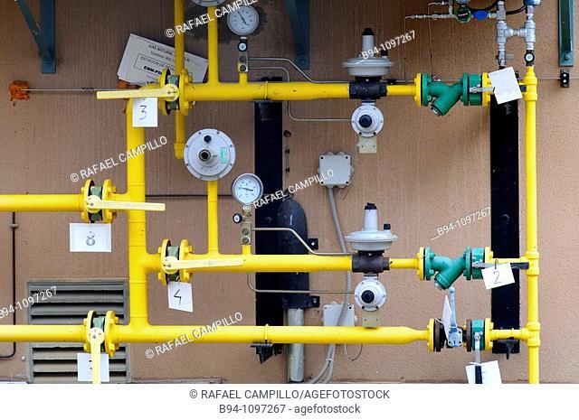 Gas pipelines. Puigcerda, Cerdanya, Girona province, Catalonia, Spain