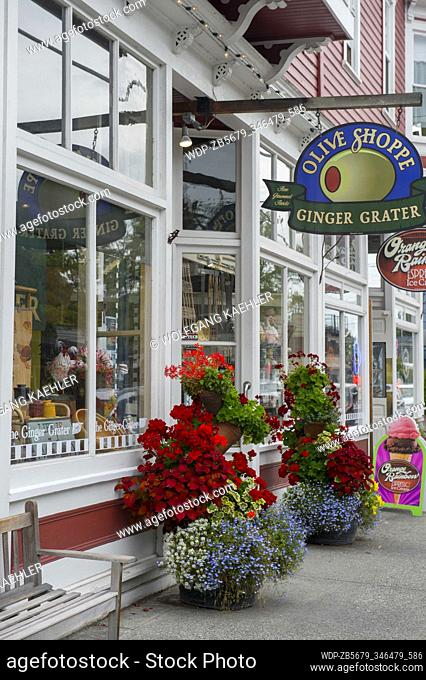 Flower containers in front of shops in the historic town of La Conner in Washington State, United States