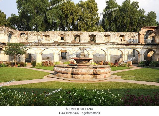 Guatemala, Central America, Santa Clara, America, Antigua, arch, architecture, Christian, church, cloud, colonial, column, downtown, earthquake, facade