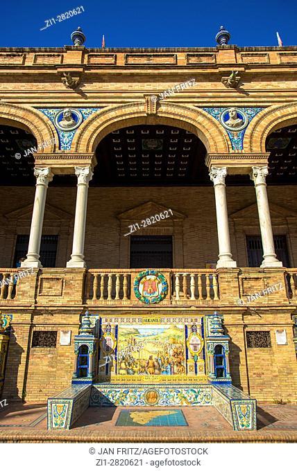 colorfull tiles decoration in plaza de espana, sevilla, spain