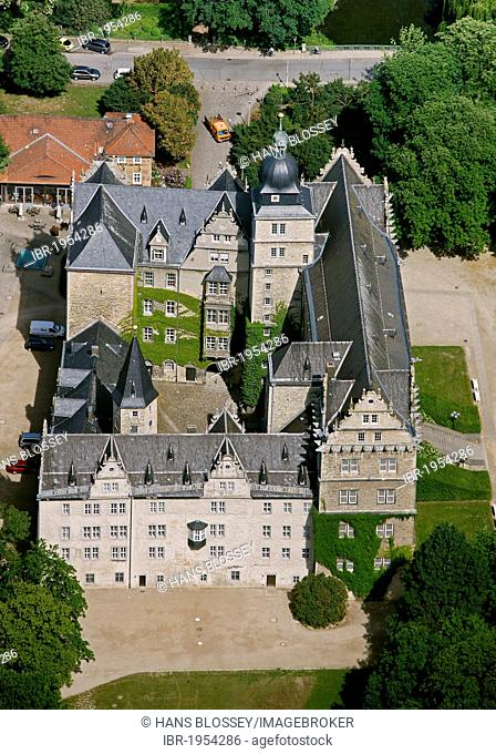 Aerial view, Schloss Wolfsburg castle, Wolfsburg, Lower Saxony, Germany, Europe