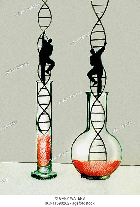 Businessmen climbing double helix ladders emerging from beaker and flask