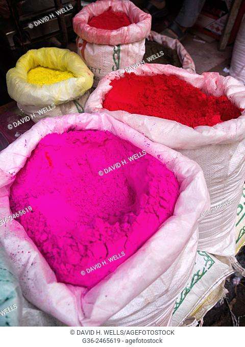 Holi powder paint for sale, the festival of colors, Varanasi, Uttar Pradesh, India
