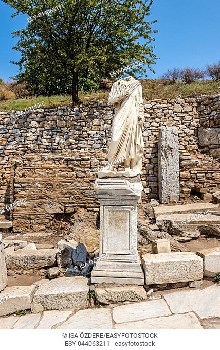 Marble statue Ruins in Ephesus historical ancient city, in Selcuk, Izmir, Turkey
