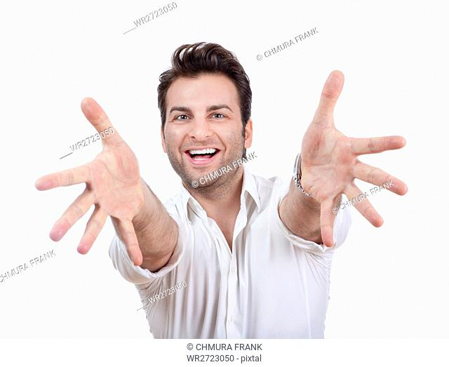 adult, arms, background, cheerful, color, excited, face, fingers, fun, gesture, hand, hands, happy, human, isolated, joy, laughing, looking, modern, mouth