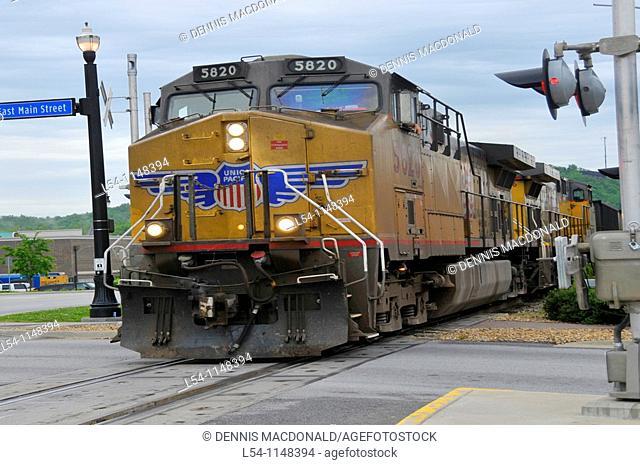 Union and Pacific Railroad Train passes through Branson Missouri