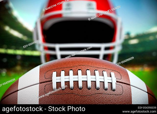 American football ball and helmet on the football arena or stadium. 3d illustration
