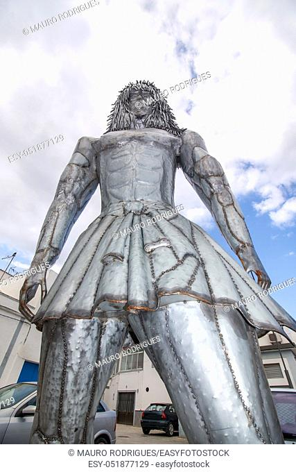 OLHAO, PORTUGAL: 27th MAY 2018 - Close up view of the giant Arraul myth statue on Olhao city, Portugal