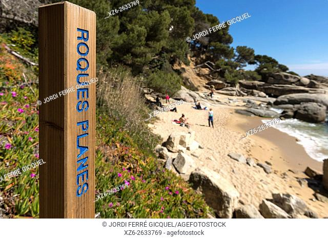 Roques planes beach, walking path from Platja d'Aro to Palamós, Calonge, Costa Brava, Baix Empordà, Costa Brava, Catalonia