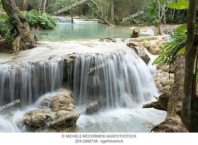 Beautiful streams and waterfalls at the lovely Kuang Si park in Laos