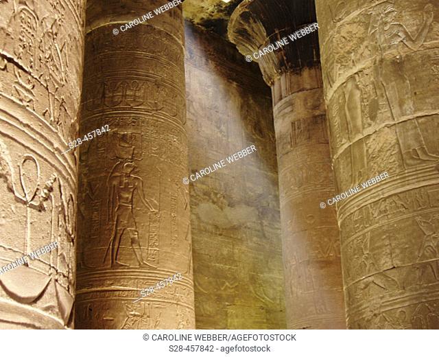 Lightbeam at the Temple of Horus, Edfu, Egypt