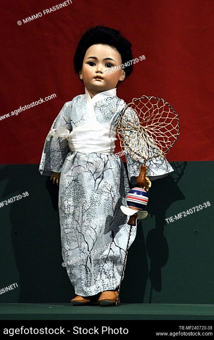 Japanese doll in the exhibition titled ' Per gioco' from the collection of antique toys of the Capitoline Superintendence