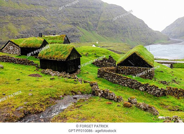 TRADITIONAL HOUSES WITH THEIR VEGETAL ROOF COVERED IN GREEN GRASS, VILLAGE OF SAKSUN, FAROE ISLANDS, DENMARK, EUROPE