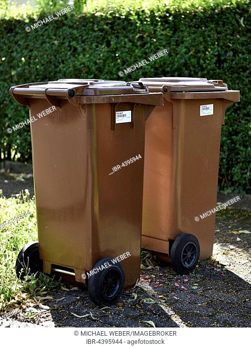 Brown garbage bins for organic waste with barcode labels, Stuttgart, Baden-Württemberg, Germany