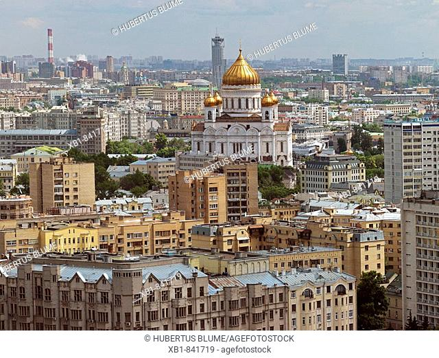 View from Lotte-Plaza onto the Cathedral of Christ the Savior, Moscow, Russia