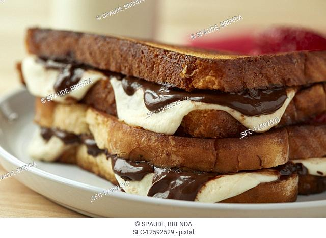A mozzarella and chocolate panini (close-up)