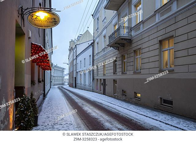 Winter evening in Vilnius old town, Lithuania