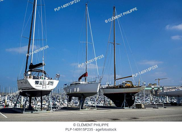Sailing boats in marina of the Port Chantereyne at Cherbourg, Lower Normandy, France