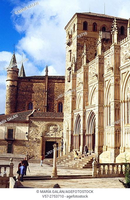 Facade of the monastery. Guadalupe, Caceres province, Extremadura, Spain
