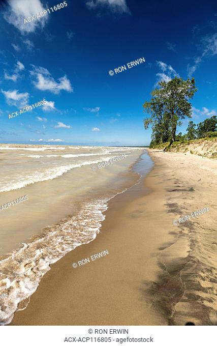 Waves and the sandy shores of Lake Erie in Long Point Provincial Park, Ontario, Canada - part of the Long Point Biosphere Reserve