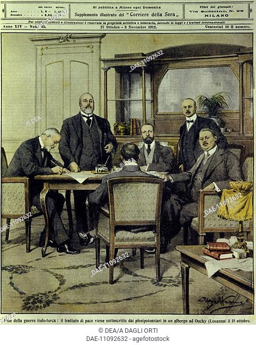 Italo-Turkish or Libyan war (1911-1912) - The end of the war: plenipotentiaries sign peace treaty of Lausanne. Cover illustration from La Domenica del Corriere