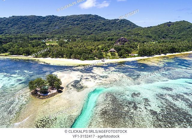 Aerial view, La Digue island, Seychelles, Africa