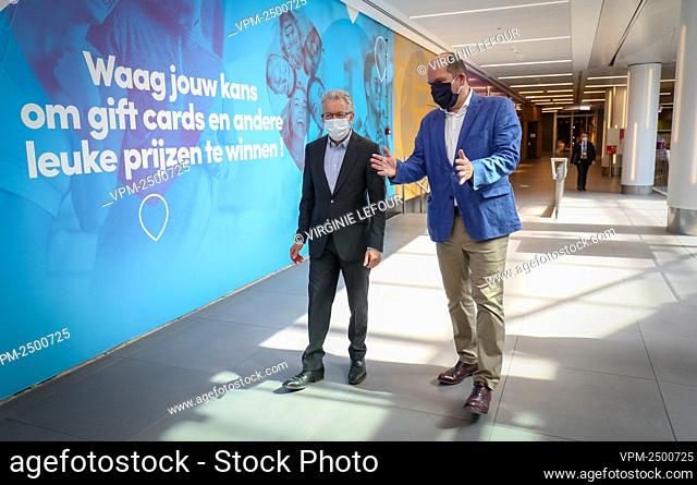 Comeos CEO Dominique Michel and Brussels City mayor Philippe Close pictured during the presentation of, the measures taken in the rue Neuve - Nieuwstraat...