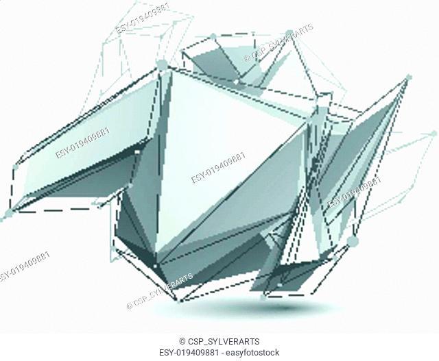 Triangular abstract grayscale 3D shape, vector digital eps8 latt