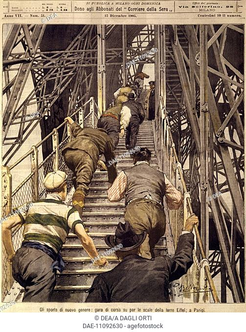 France, 20th century - New sports: running race up the stairs of the Tour Eiffel in Paris. Cover illustration from La Domenica del Corriere