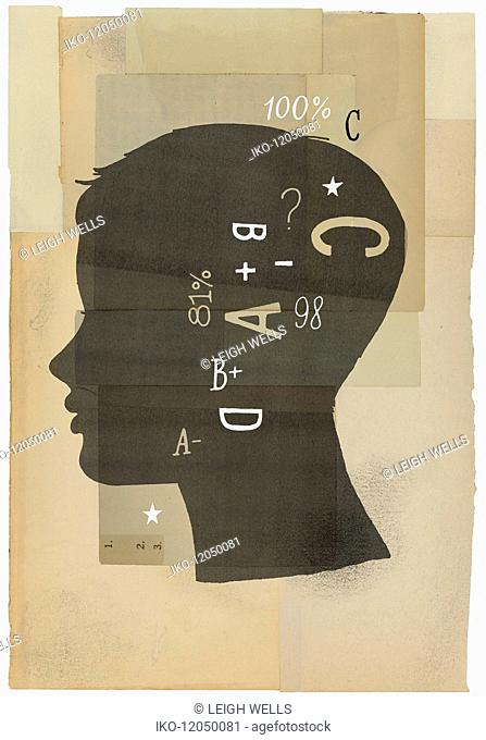 Silhouette of boy thinking about grades