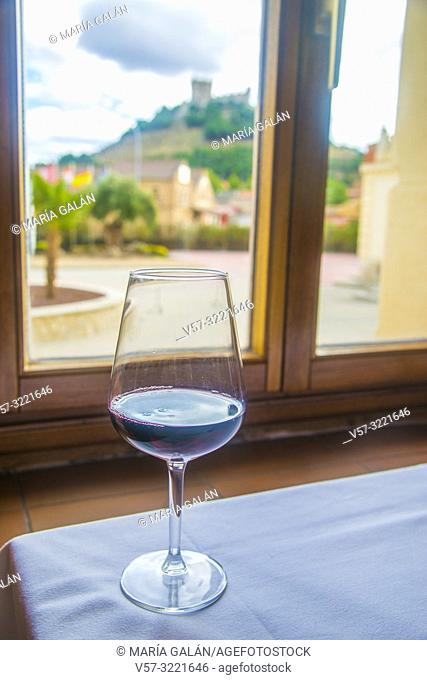 Glass of Ribera del Duero red wine. Peñafiel, Valladolid province, Spain